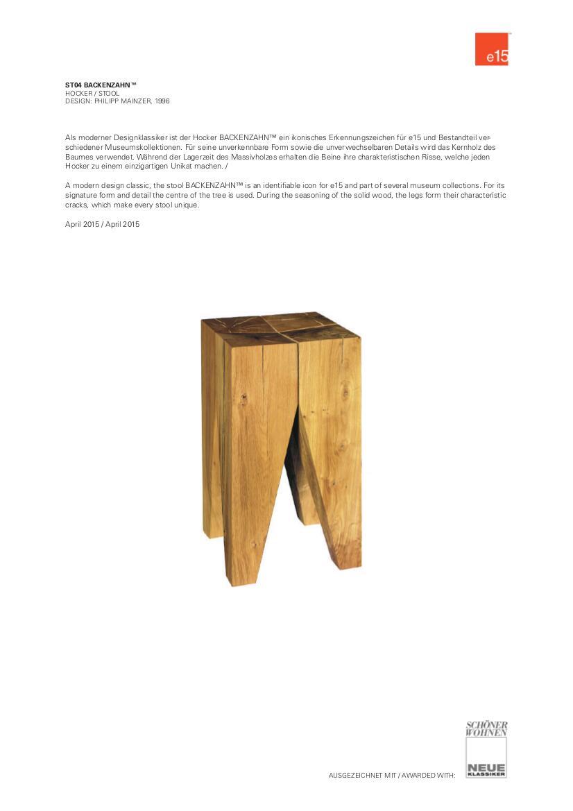 e15 hocker beistelltisch backenzahn von philipp mainzer 1996 designerm bel von. Black Bedroom Furniture Sets. Home Design Ideas