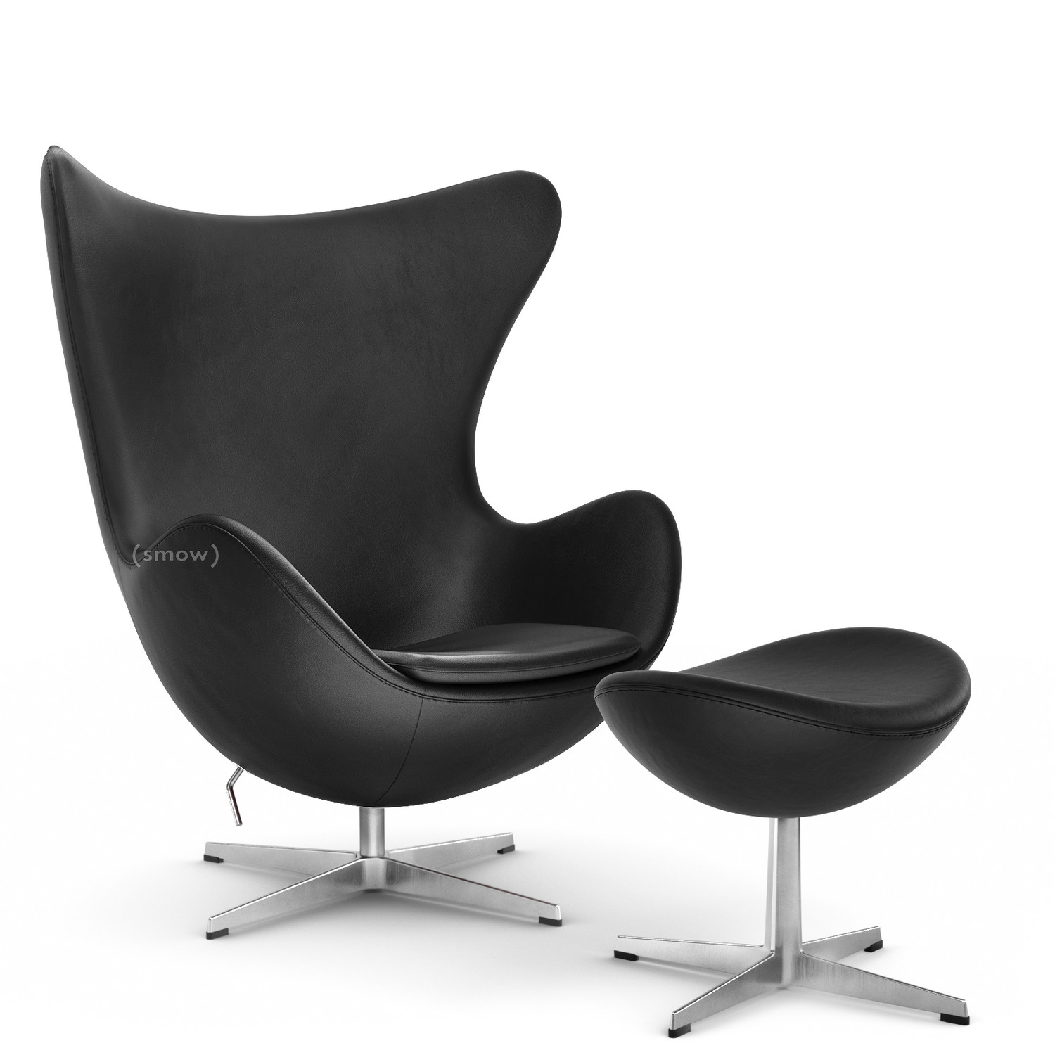 Fritz Hansen Egg Chair Basic Leder Black Mit Fußhocker Von Arne
