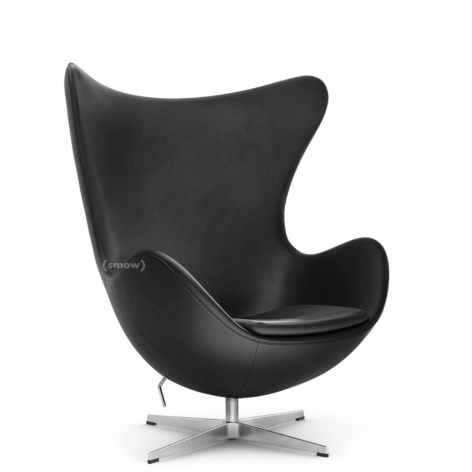 Fritz Hansen Egg Chair Basic Leder Black Ohne Fußhocker Von Arne