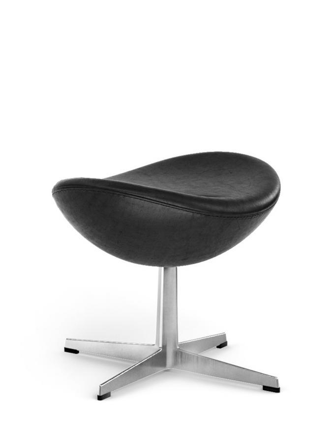 Fritz Hansen Egg Footstool Elegance Leder Black Von Arne Jacobsen