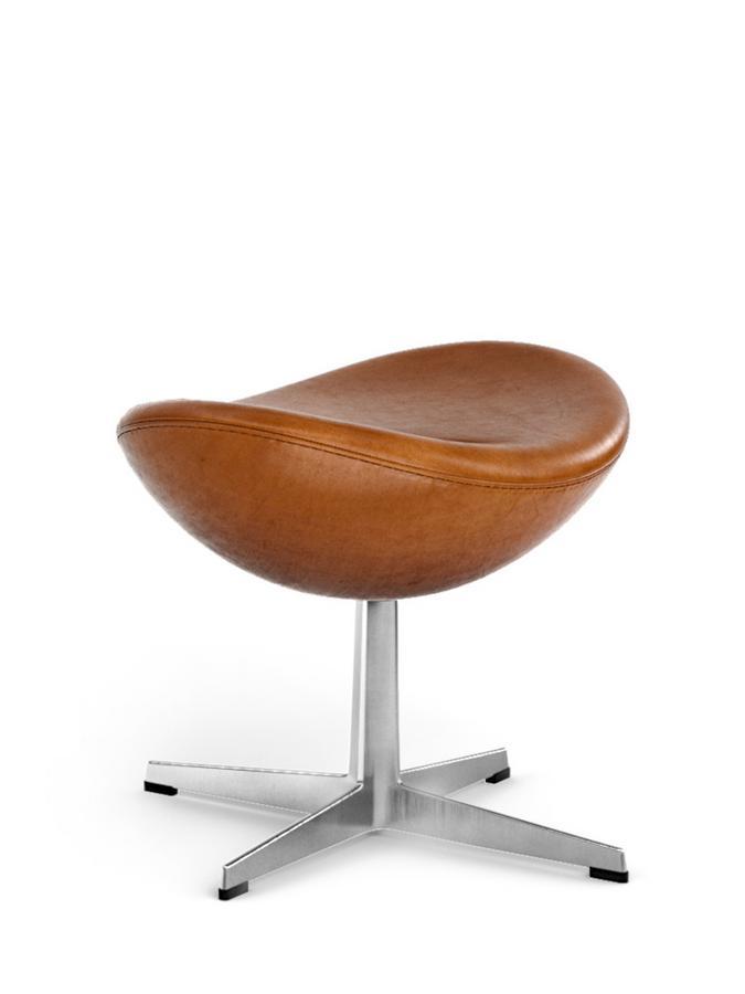 Fritz Hansen Egg Footstool Elegance Leder Walnut Von Arne Jacobsen