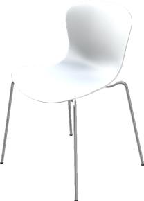 NAP Stapelstuhl Sonderhöhe 47,5 cm|Milchweiß|Verchromt