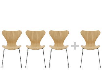 Serie 7 Aktionsset 3+1 Sitz klar lackierte Eiche, Gestell verchromt