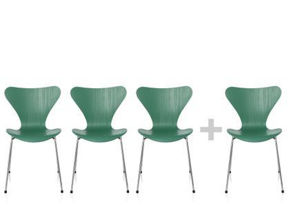 Serie 7 Aktionsset 3+1 Sitz gefärbte Esche hüzün green, Gestell verchromt