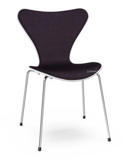 Serie 7 Stuhl mit Frontpolster Gefärbte Esche|Weiß|Remix  692 - Aubergine|Verchromt