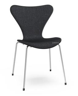 Serie 7 Stuhl mit Frontpolster Lack|Schwarz lackiert|Remix 183 - Schwarz|Verchromt