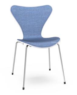 Serie 7 Stuhl mit Frontpolster Lack Weiß lackiert Remix 743 - Blau Verchromt