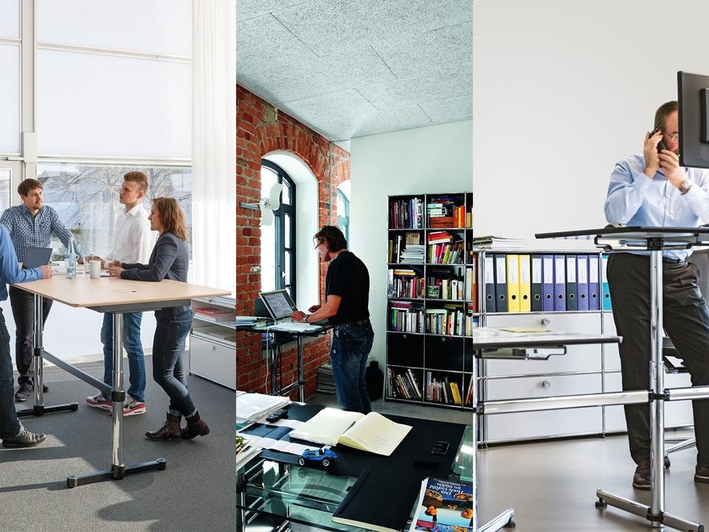 Höhenverstellbare Schreibtische Stehen am Arbeitsplatz