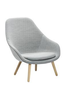 About A Lounge Chair High AAL 92 Steelcut Trio 133 - hellgrau|Eiche klar lackiert|Mit Sitzkissen