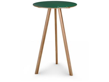 Copenhague Round Table CPH20 Ø 70 x H 105|Eiche lackiert|Linoleum grün