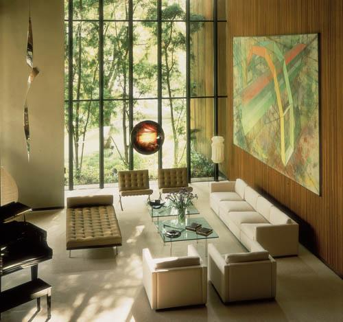 Barcelona chair and couch in a typical modern interior & Knoll International Barcelona Chair by Ludwig Mies van der Rohe ...