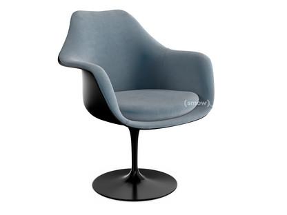 Saarinen Tulip Armlehnstuhl drehbar|gepolsterte Innenschale und Sitzkissen|schwarz|Steel (Eva 172)