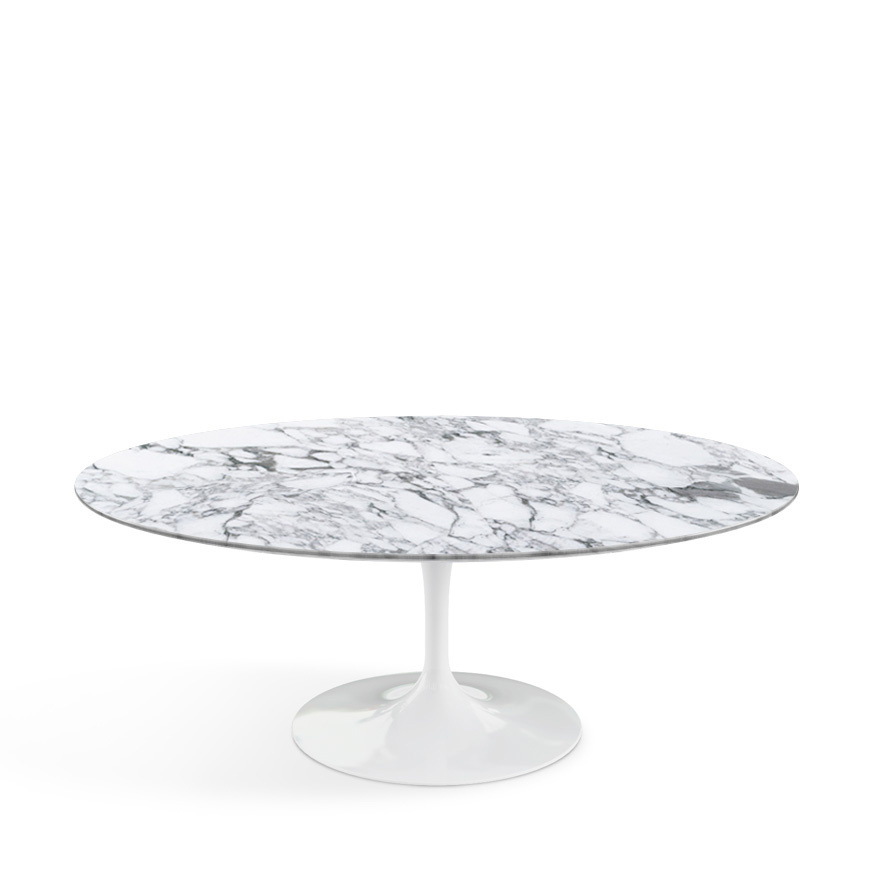Knoll International Saarinen Couchtisch Oval Weiß Marmor