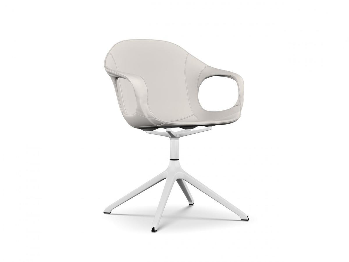Kristalia Elephant Drehgestell, Leder weiß, Aluminium lackiert (in ...