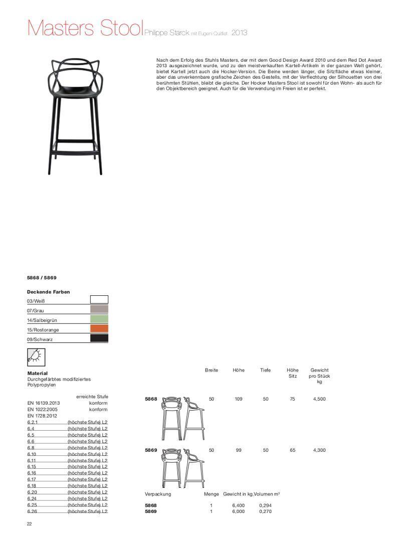 Kartell Masters Bar Stool Metallic By Philippe Starck