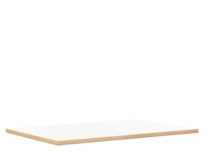 Tischplatte für Eiermann Tischgestelle Melamin weiß mit Eichekante|160 x 80 cm