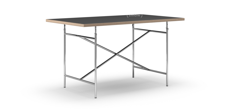 richard lampert eiermann tisch linoleum schwarz mit eichekante 140 x 80 cm chrom senkrecht. Black Bedroom Furniture Sets. Home Design Ideas