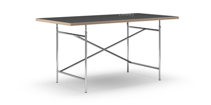 Eiermann Tisch Linoleum schwarz mit Eichekante|160 x 80 cm|Chrom|schräg, versetzt (Eiermann 1)|110 x 66 cm