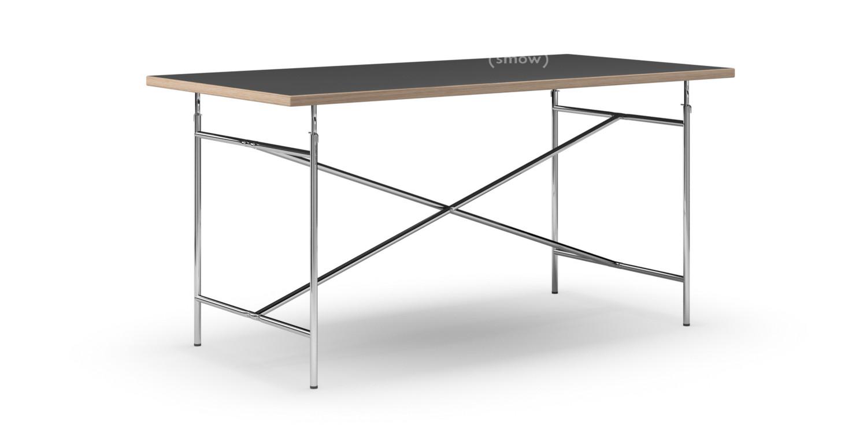 richard lampert eiermann tisch linoleum schwarz mit eichekante 160 x 80 cm chrom senkrecht. Black Bedroom Furniture Sets. Home Design Ideas