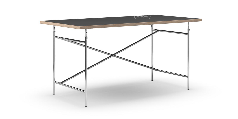 Eiermann Tisch Linoleum Schwarz Mit Eichekante|160 X 80 Cm|Chrom|senkrecht,