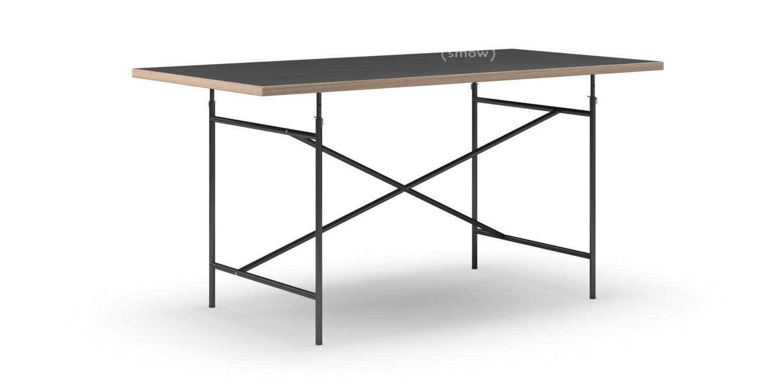 richard lampert eiermann tisch linoleum schwarz mit eichekante 160 x 80 cm schwarz schr g. Black Bedroom Furniture Sets. Home Design Ideas