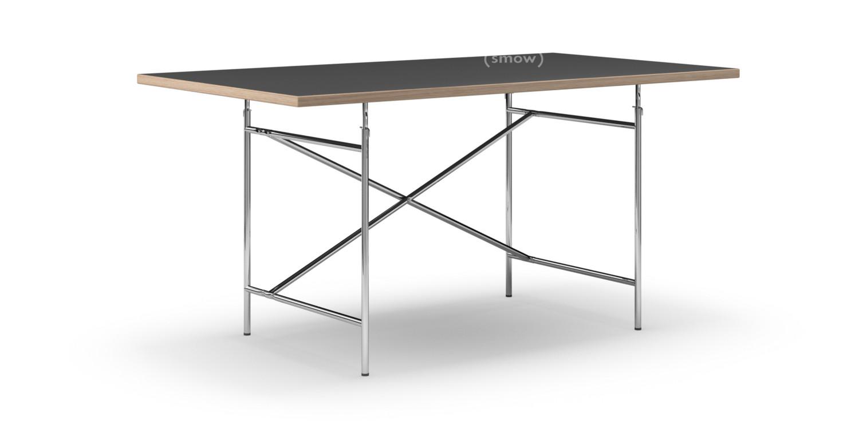 richard lampert eiermann tisch linoleum schwarz mit eichekante 160 x 90 cm chrom senkrecht. Black Bedroom Furniture Sets. Home Design Ideas