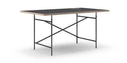 Eiermann Tisch Linoleum schwarz mit Eichekante|160 x 90 cm|Schwarz|schräg, versetzt (Eiermann 1)|110 x 66 cm