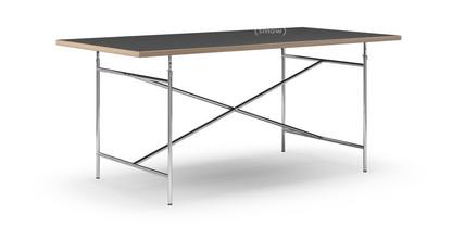 Eiermann Tisch Linoleum schwarz mit Eichekante|180 x 90 cm|Chrom|senkrecht, mittig (Eiermann 2)|135 x 78 cm