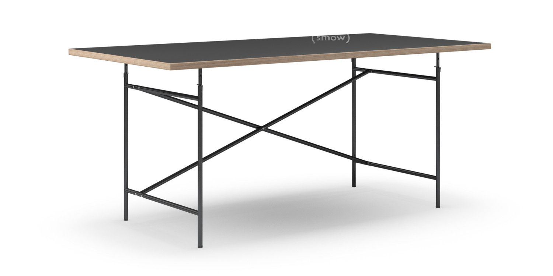 eiermann tisch linoleum schwarz forbo 4023 mit eichekante 180 x 90 cm