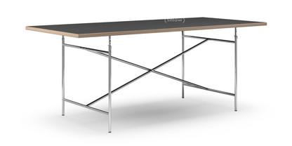 Eiermann Tisch Linoleum schwarz mit Eichekante|200 x 90 cm|Chrom|senkrecht, mittig (Eiermann 2)|135 x 78 cm
