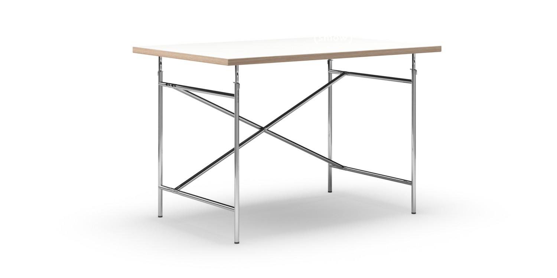 richard lampert eiermann tisch melamin wei mit eichekante 120 x 80 cm chrom senkrecht. Black Bedroom Furniture Sets. Home Design Ideas