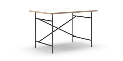 Eiermann Tisch Melamin weiß mit Eichekante|120 x 80 cm|Schwarz|senkrecht, versetzt (Eiermann 2)|100 x 66 cm