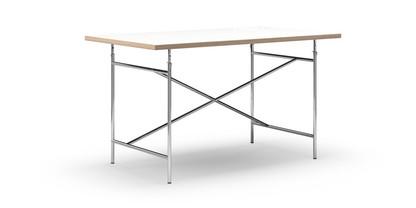Eiermann Tisch Melamin weiß mit Eichekante|140 x 80 cm|Chrom|schräg, mittig (Eiermann 1)|110 x 66 cm