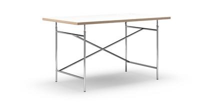 Eiermann Tisch Melamin weiß mit Eichekante|140 x 80 cm|Chrom|schräg, versetzt (Eiermann 1)|110 x 66 cm