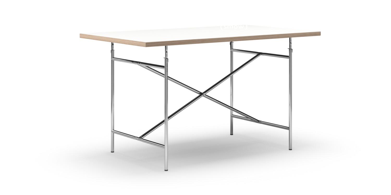 richard lampert eiermann tisch melamin wei mit eichekante 140 x 80 cm chrom senkrecht. Black Bedroom Furniture Sets. Home Design Ideas
