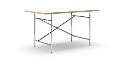 Eiermann Tisch Melamin weiß mit Eichekante 140 x 80 cm Chrom senkrecht, versetzt (Eiermann 2) 100 x 66 cm
