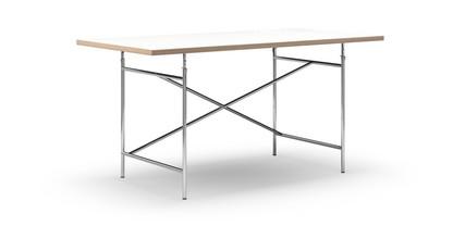 Eiermann Tisch Melamin weiß mit Eichekante 160 x 80 cm Chrom schräg, versetzt (Eiermann 1) 110 x 66 cm