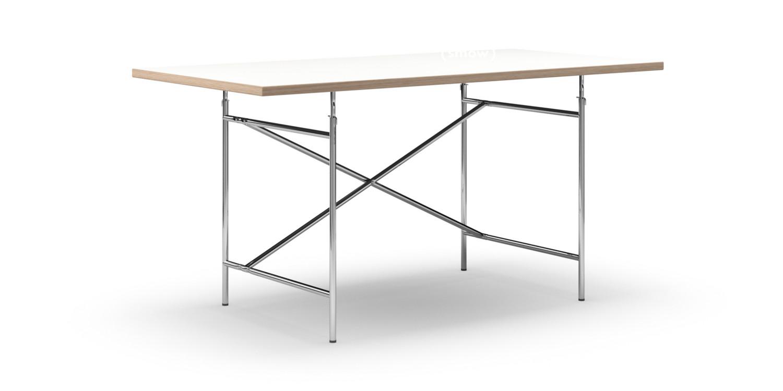 richard lampert eiermann tisch melamin wei mit eichekante 160 x 80 cm chrom senkrecht. Black Bedroom Furniture Sets. Home Design Ideas