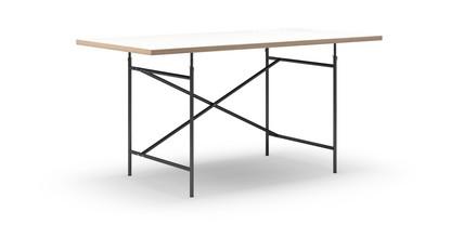 Eiermann Tisch Melamin weiß mit Eichekante|160 x 80 cm|Schwarz|senkrecht, versetzt (Eiermann 2)|100 x 66 cm