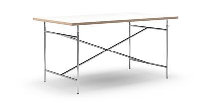 Eiermann Tisch Melamin weiß mit Eichekante|160 x 90 cm|Chrom|senkrecht, mittig (Eiermann 2)|135 x 78 cm