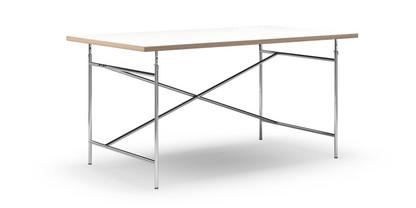 Eiermann Tisch Melamin weiß mit Eichekante|160 x 90 cm|Chrom|senkrecht, versetzt (Eiermann 2)|135 x 78 cm