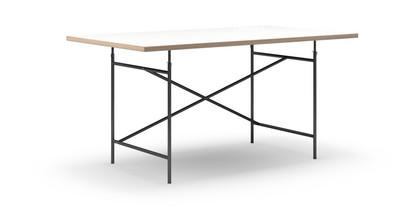 Eiermann Tisch Melamin weiß mit Eichekante|160 x 90 cm|Schwarz|schräg, versetzt (Eiermann 1)|110 x 66 cm