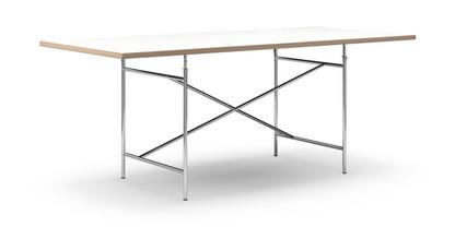 richard lampert eiermann tisch melamin wei mit eichekante 200 x 90 cm chrom schr g mittig. Black Bedroom Furniture Sets. Home Design Ideas