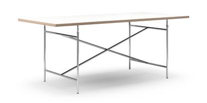 Eiermann Tisch Melamin weiß mit Eichekante|200 x 90 cm|Chrom|senkrecht, mittig (Eiermann 2)|135 x 78 cm