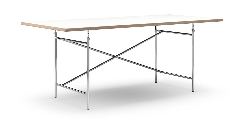 richard lampert eiermann tisch melamin wei mit eichekante 200 x 90 cm chrom senkrecht. Black Bedroom Furniture Sets. Home Design Ideas