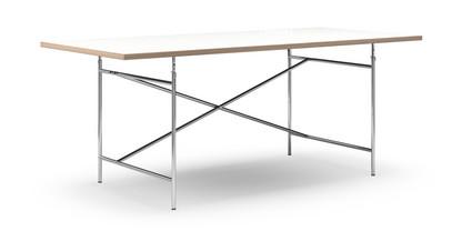 Eiermann Tisch Melamin weiß mit Eichekante|200 x 90 cm|Chrom|senkrecht, versetzt (Eiermann 2)|135 x 78 cm
