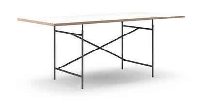 Eiermann Tisch Melamin weiß mit Eichekante|200 x 90 cm|Schwarz|schräg, versetzt (Eiermann 1)|110 x 66 cm
