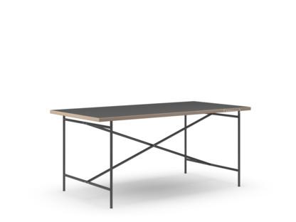 Eiermann 2 Esstisch Linoleum schwarz (Forbo 4023) mit Eichekante|160 x 83 cm|Schwarz