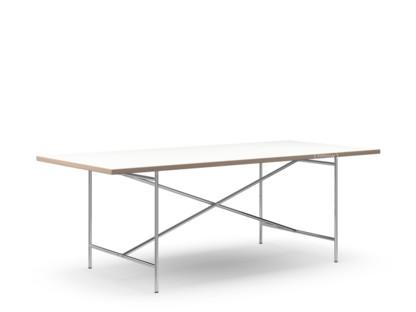 Eiermann 2 Esstisch Melamin weiß mit Eichekante|200 x 90 cm|chrom