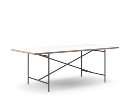 Eiermann 2 Esstisch Melamin weiß mit Eichekante|200 x 90 cm|Schwarz